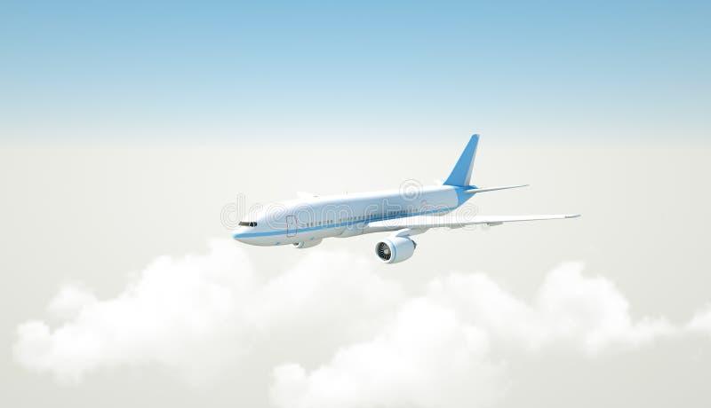 Flygplan som flyger ovannämnda moln - tolkning 3D vektor illustrationer