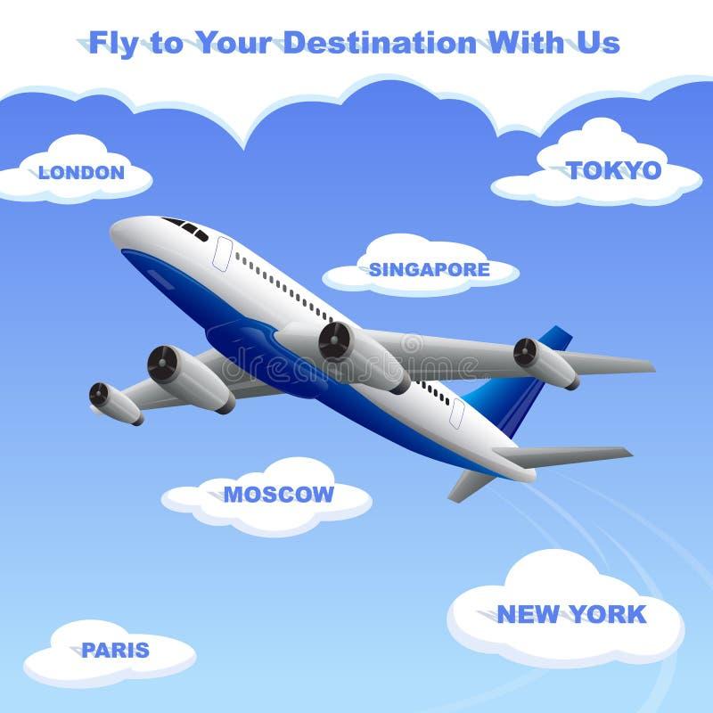 Flygplan som reser till din destination royaltyfri illustrationer