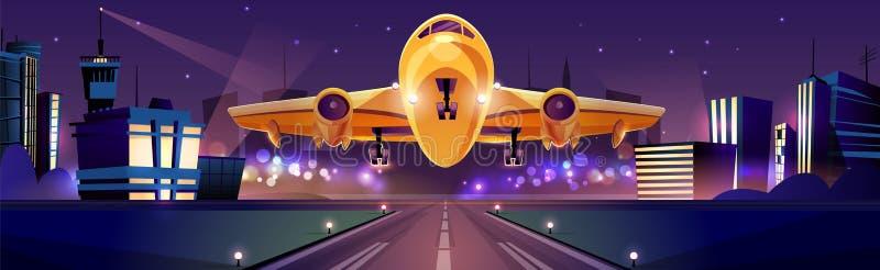 Flygplan som tar av från förrymd vektor för flygplats royaltyfri illustrationer