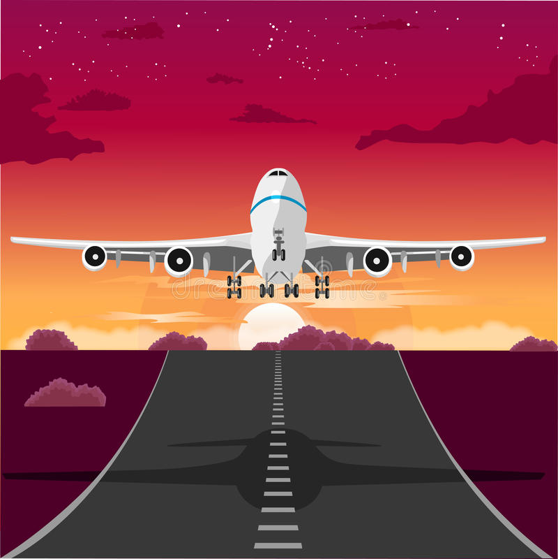 Flygplan som tar av från landningsbanan i aftonen royaltyfri illustrationer