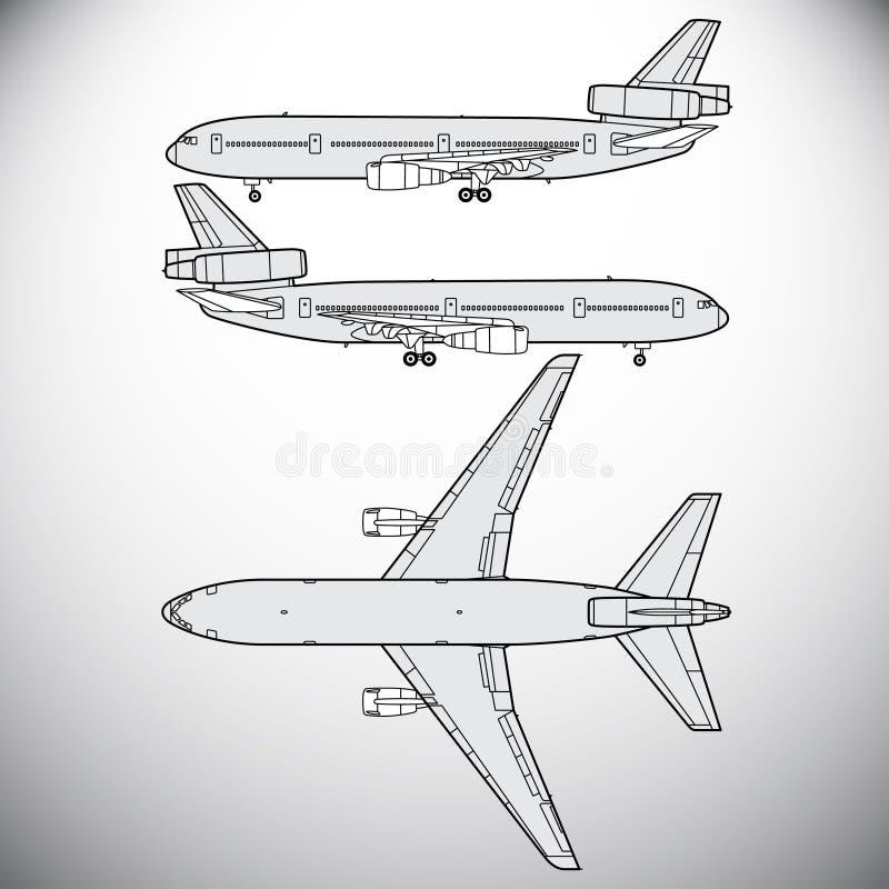 Flygplan trafikflygplan royaltyfri illustrationer