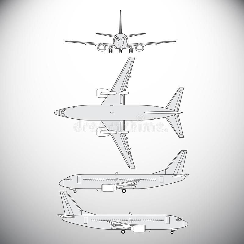 Flygplan trafikflygplan stock illustrationer