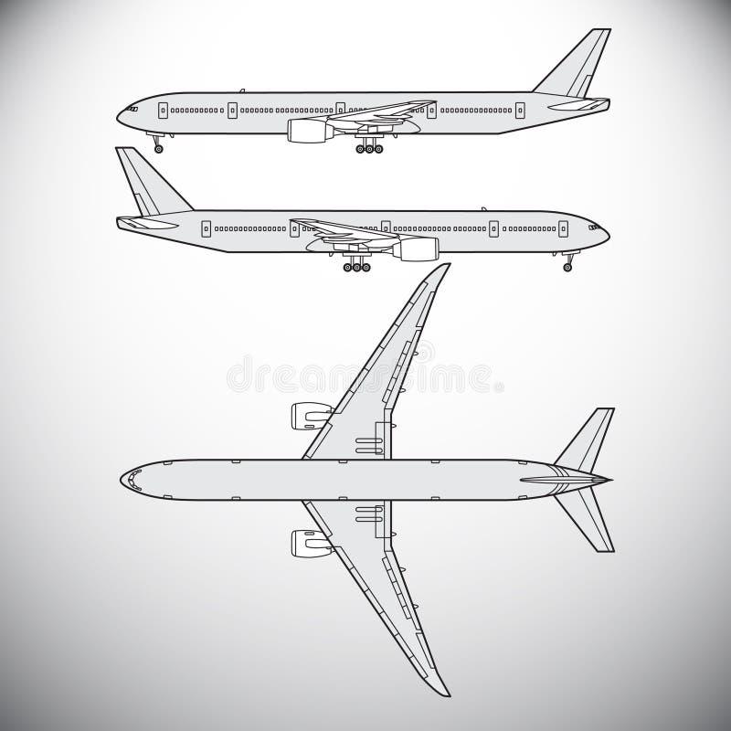 Flygplan trafikflygplan vektor illustrationer