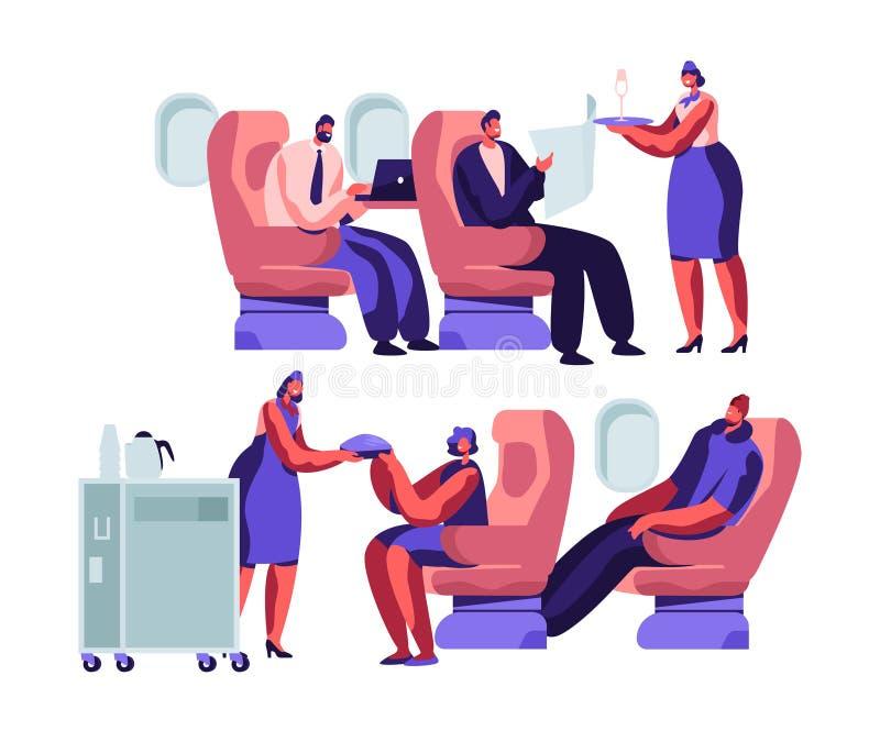 Flygplanbesättning- och passageraretecken i nivå Stewardess Giving Meal till lyckligt folk som sitter på stolar i ekonomiklass stock illustrationer