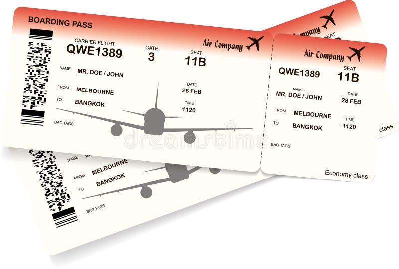 Flygplanbiljett Mall för biljett för logipasserande stock illustrationer