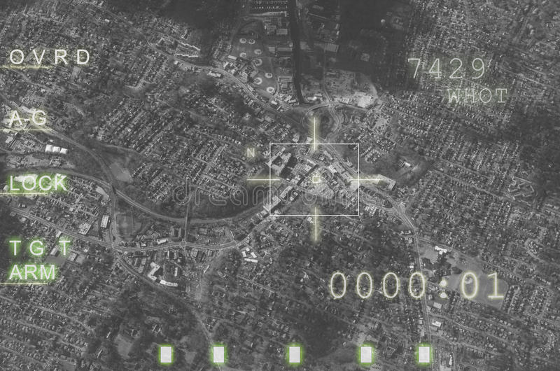 Flygplandatoren, mål låste, ordnar till för att avfyra arkivfoto