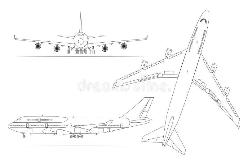 Flygplanet den linjära symbolsuppsättningen på en vit bakgrund isolerade vektorillustrationen vektor illustrationer