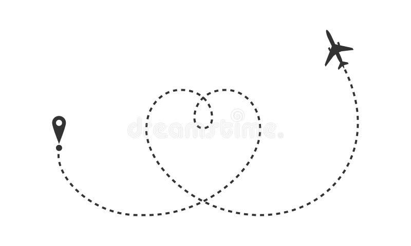 Flygplanet drog hjärtan vektor illustrationer