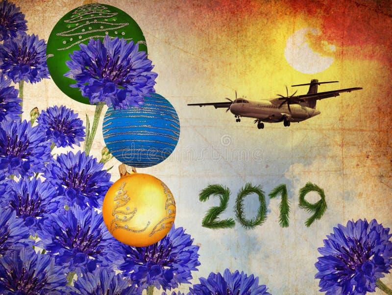 Flygplanet 2019 för det lyckliga nya året flyger på magisk soluppgång stock illustrationer