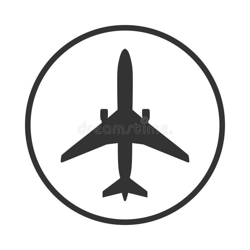 Flygplanet undertecknar in cirkeln royaltyfri illustrationer