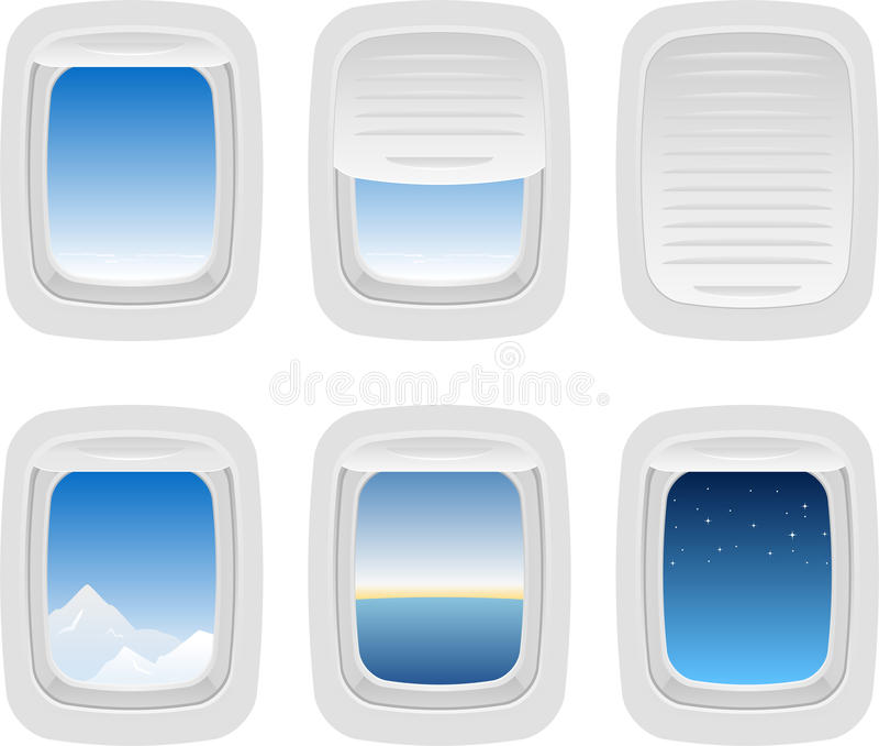 flygplanfönster stock illustrationer