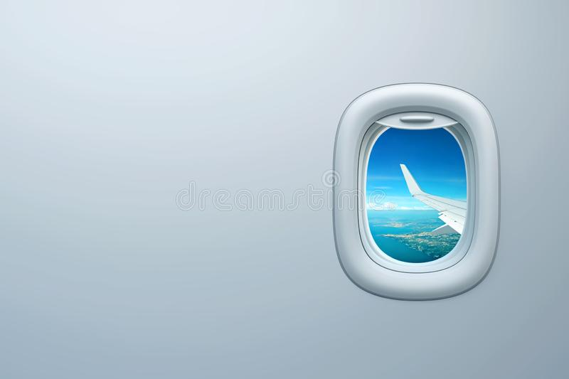Flygplanfönster med sikt av det havskusten och stället för text vektor illustrationer