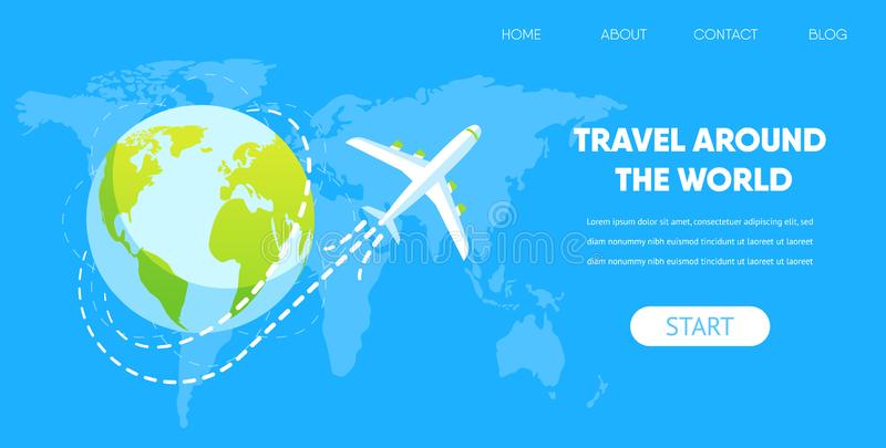 Flygplanfluga runt om begrepp för jordjordklotvektor royaltyfri illustrationer