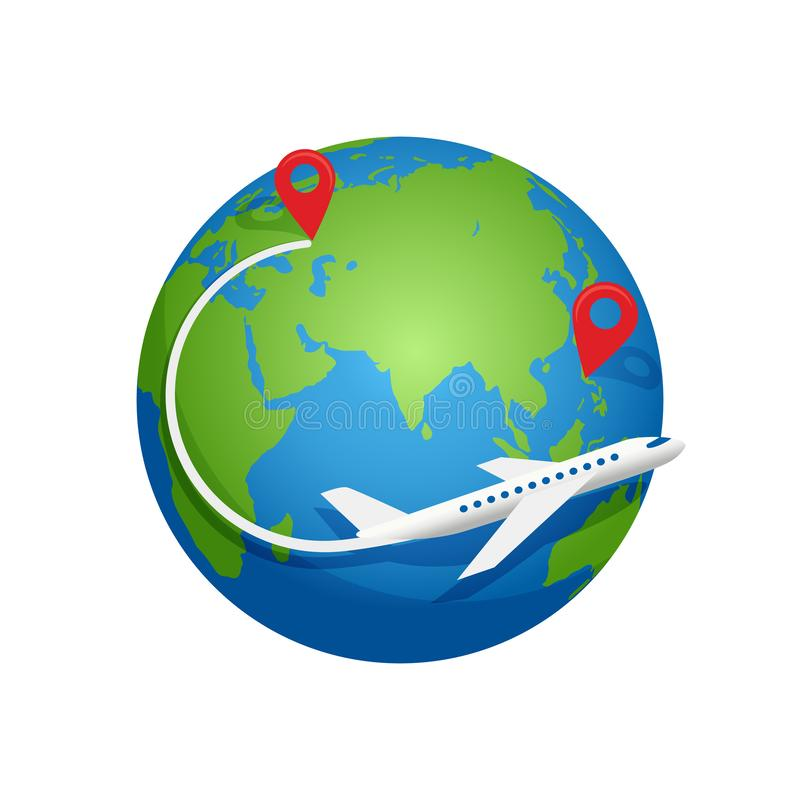 Flygplanfluga runt om planetjorden stock illustrationer
