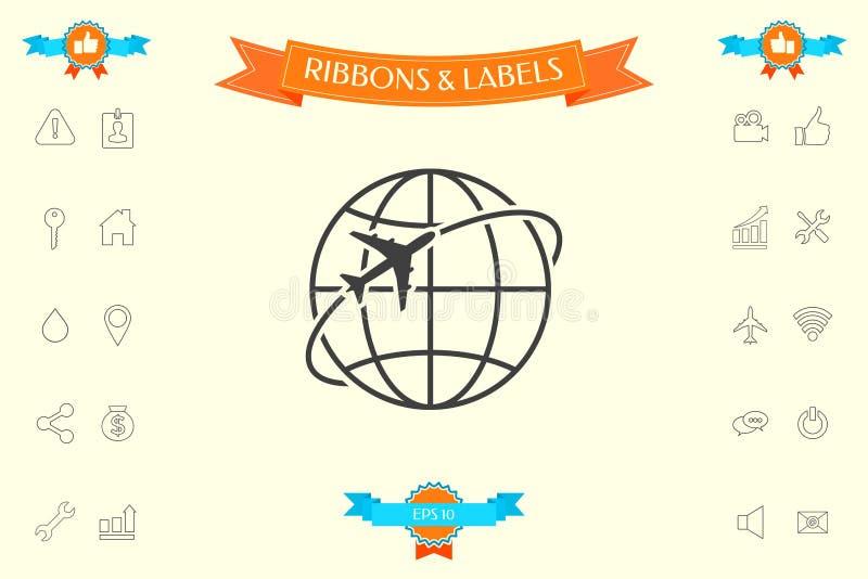 Flygplanfluga runt om symbolen för planetjordlogo royaltyfri illustrationer