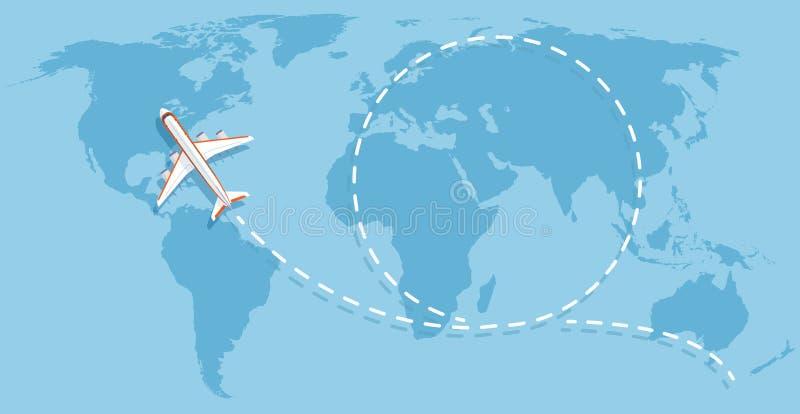Flygplanflyg ovanför världskarta Begrepp för vektor för flygplanresandelägenhet royaltyfri illustrationer