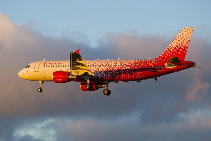 Flygplanflygbuss A320-214 'Vologda 'VP-BZR av 'det Ryssland 'flygbolaget royaltyfri foto