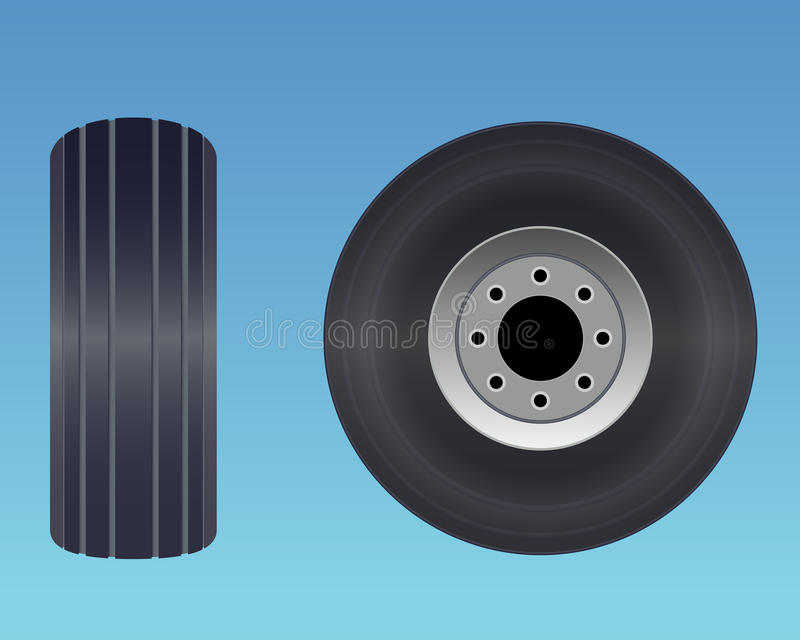 Flygplangummihjul royaltyfri illustrationer