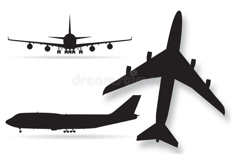 Flygplankonturer som isoleras på vit bakgrund, flygplanvektorillustration stock illustrationer