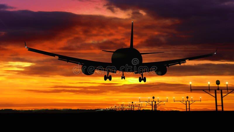 Flygplankonturlandning på röd himmelbakgrund royaltyfri fotografi