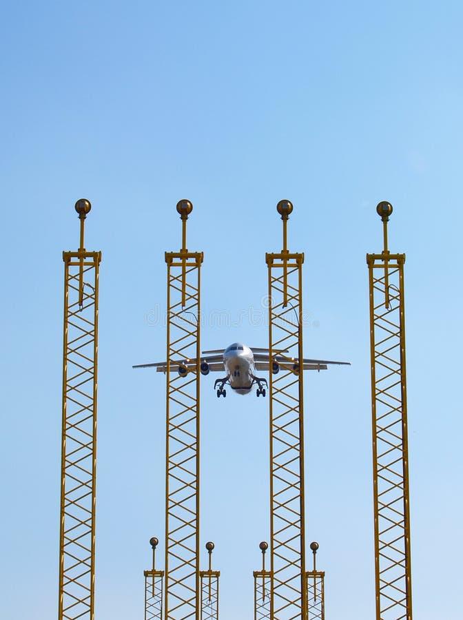 flygplanlandninglampor fotografering för bildbyråer