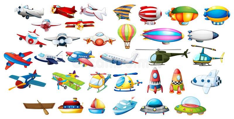 Flygplanleksaker och ballonger stock illustrationer