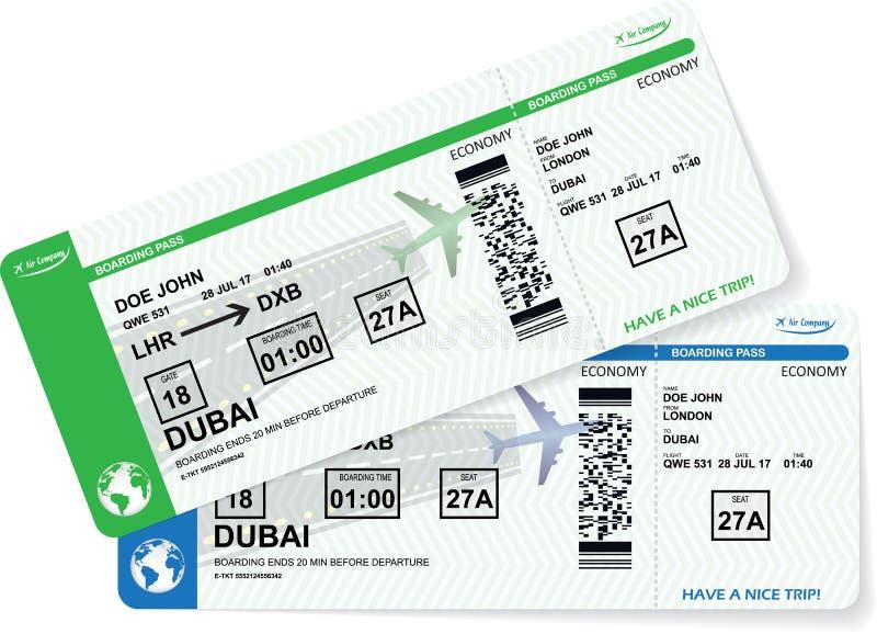 Flygplanlogipasserande Vektorflygbolagbiljett stock illustrationer