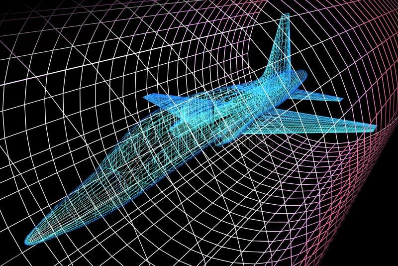 Flygplanmodell In Wind Tunnel vektor illustrationer