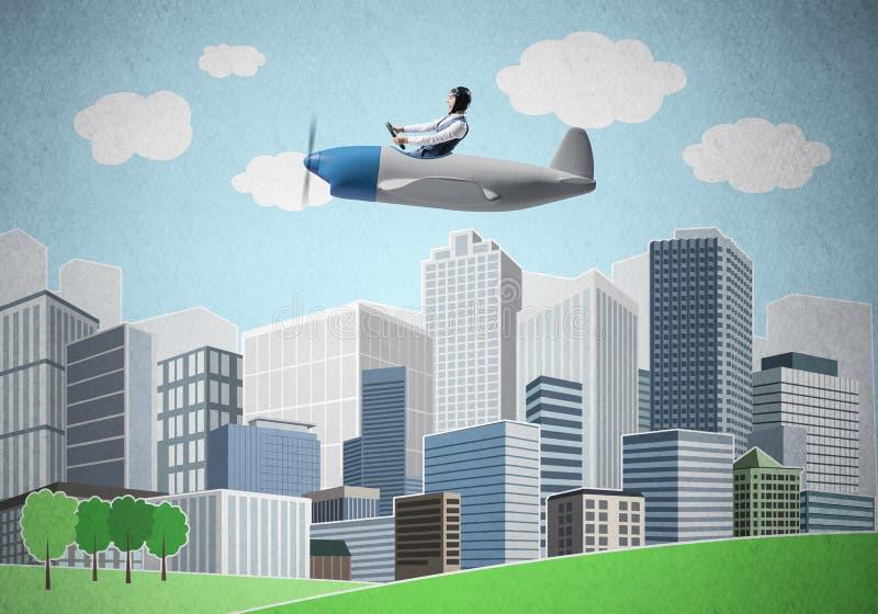 Flygplanpilot som sitter i liten propellernivå stock illustrationer