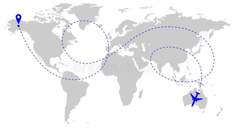 Flygplanrutt över världen royaltyfri illustrationer