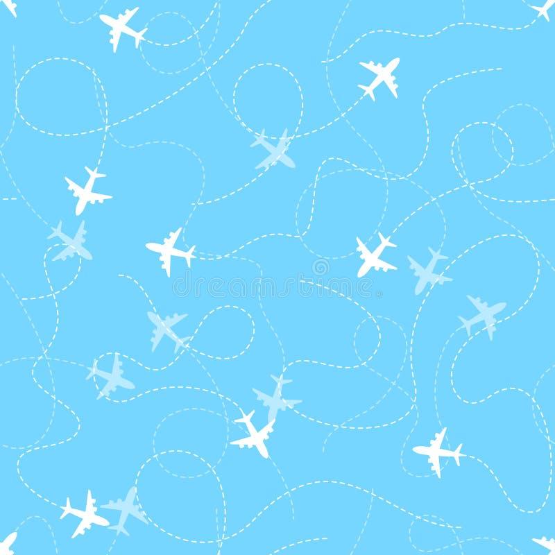 Flygplanruttar med den prickiga linjen, sömlös modell vektor illustrationer
