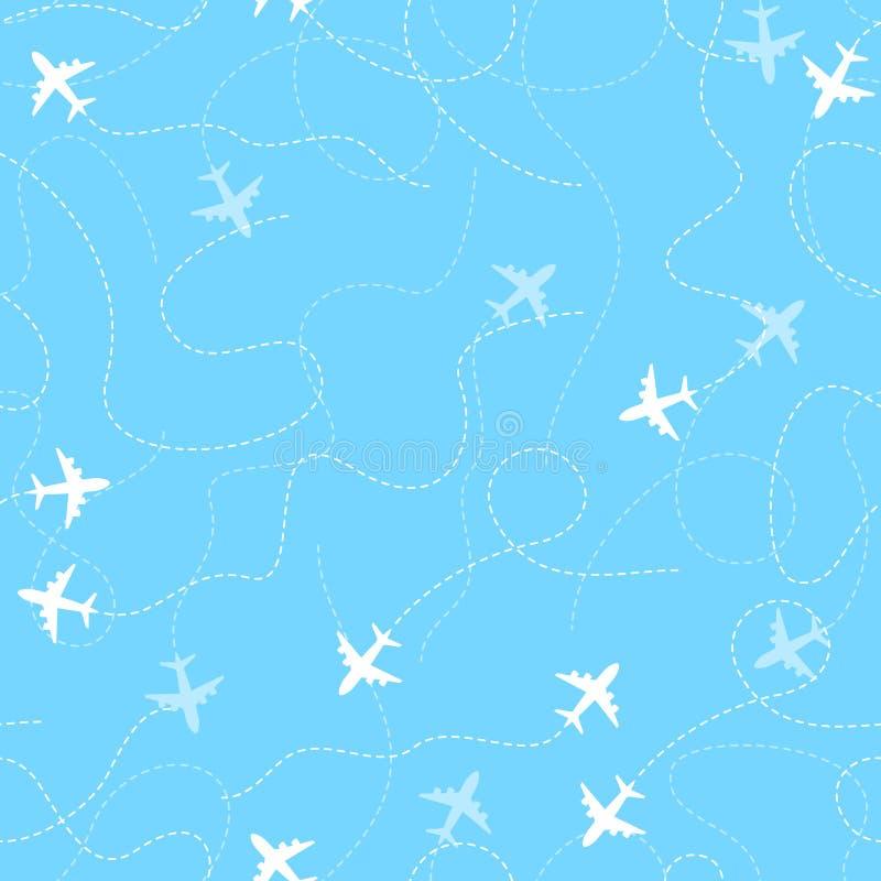 Flygplanruttar med den prickiga linjen, sömlös modell royaltyfri illustrationer