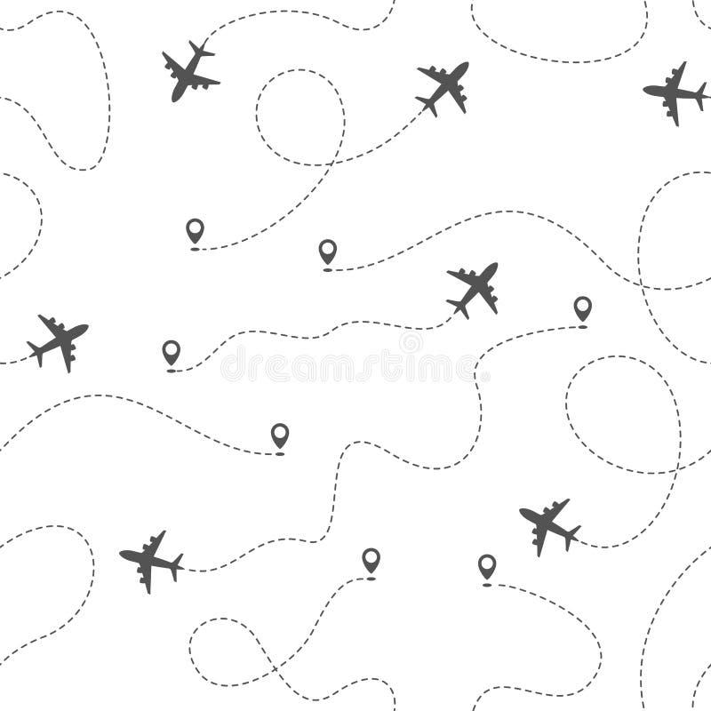 Flygplanruttar med den prickiga linjen, s?ml?s modell royaltyfri illustrationer