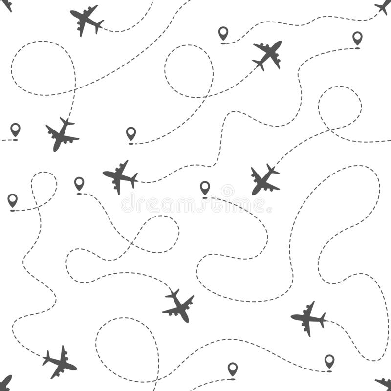 Flygplanruttar med den prickiga linjen, s?ml?s modell stock illustrationer
