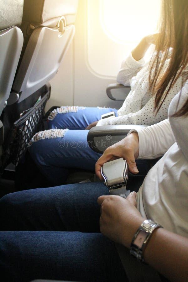 Flygplansäkerhetsbälte fotografering för bildbyråer