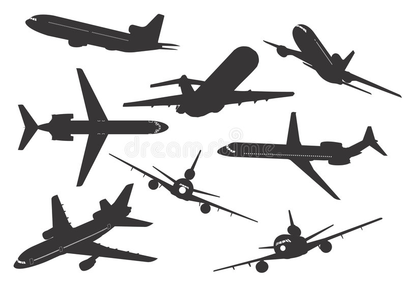 flygplansilhouette vektor illustrationer