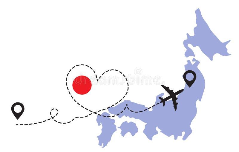 Flygplanskoncept för resor till Japan royaltyfri bild