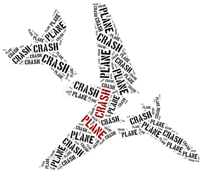 Flygplanskrasch eller luftkrasch Collage för etikettsmolnbegrepp royaltyfri illustrationer