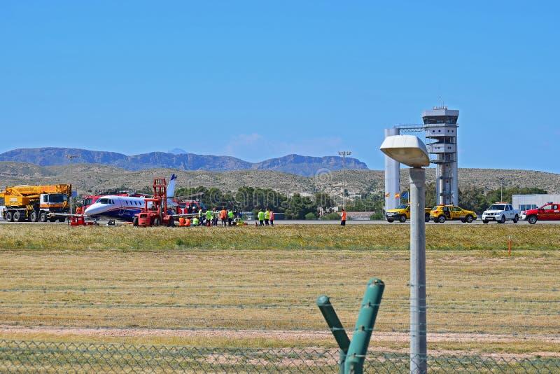 Flygplanskrasch p? den Alicante flygplatsen arkivfoto