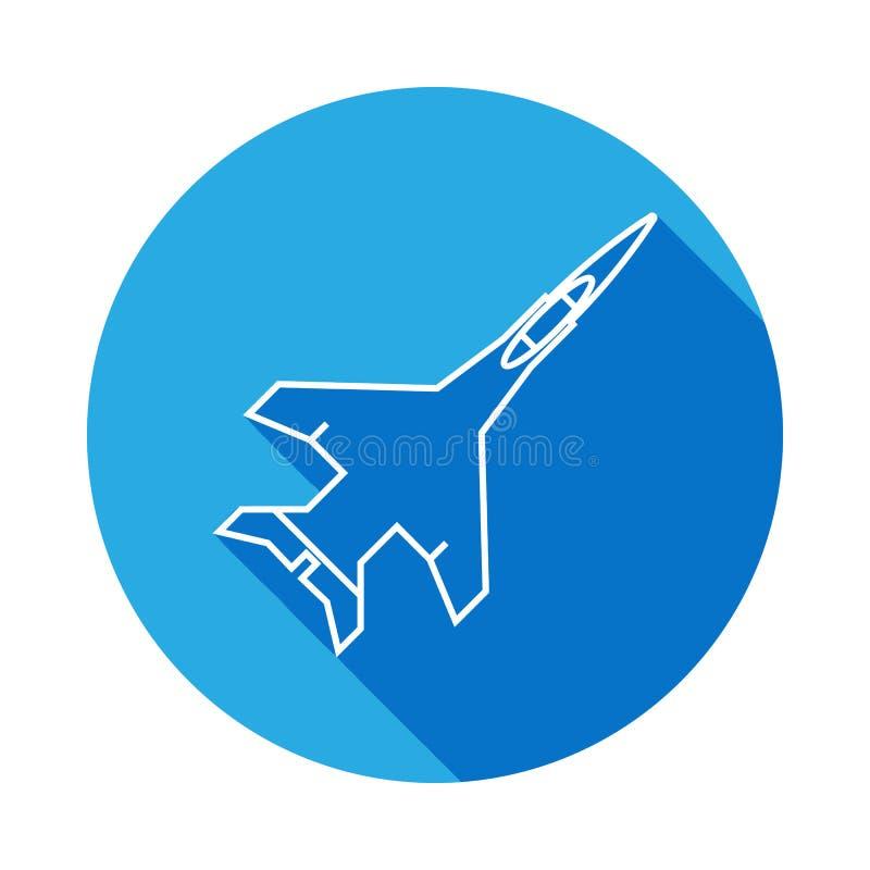 flygplanstrållinje symbol med lång skugga Beståndsdel av den militära illustrationen Tecknet och symboler skisserar symbolen för  royaltyfri illustrationer
