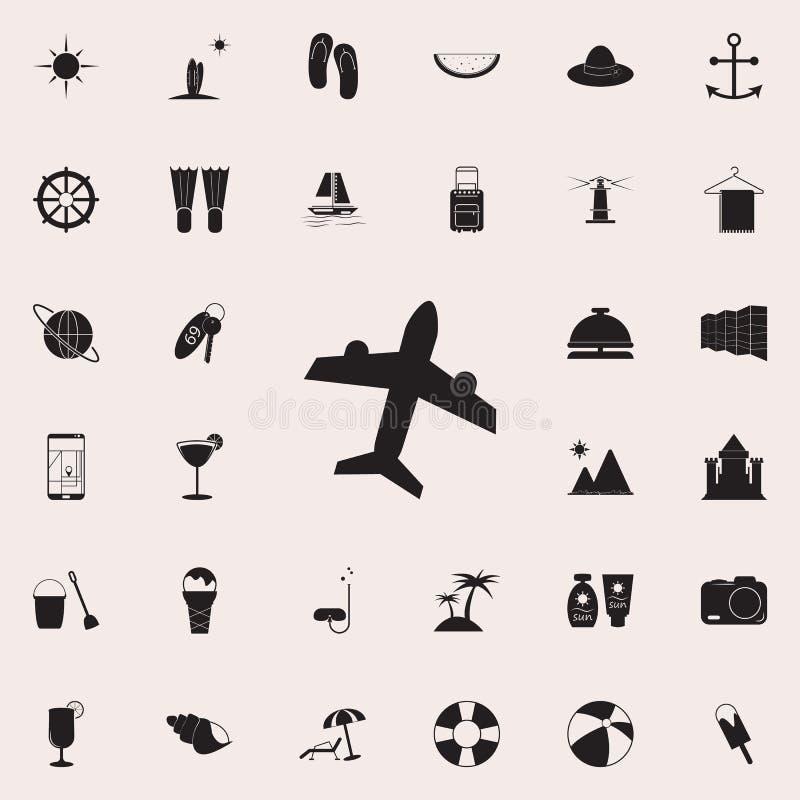 Flygplansymbol Detaljerad uppsättning av sommarnöjesymboler Högvärdigt kvalitets- tecken för grafisk design En av samlingssymbole royaltyfri illustrationer