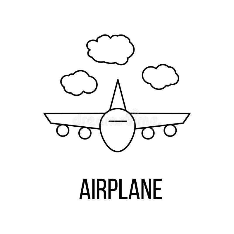 Flygplansymbol eller logolinje konststil royaltyfri illustrationer