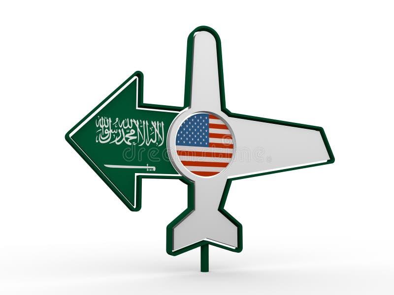 Flygplansymbol och destinationspil royaltyfri illustrationer
