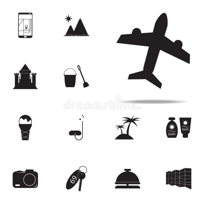 Flygplansymbol universell uppsättning för sommarnöjesymboler för rengöringsduk och mobil royaltyfri illustrationer