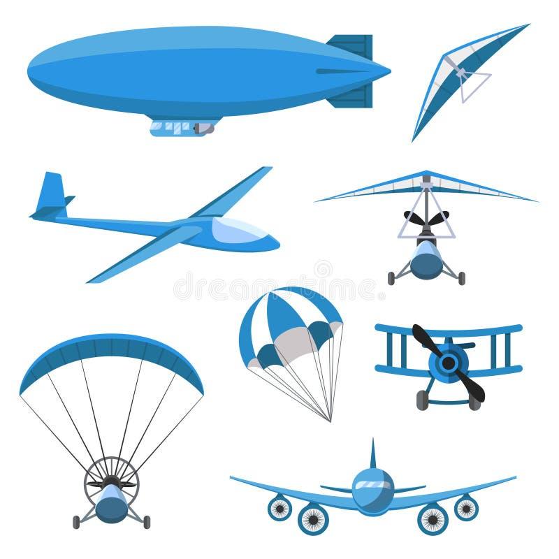 Flygplansymbolsuppsättning på vit bakgrund Hoppa fallskärm luftskeppet, Hängning-glidflygplanet, flygplanet, Trike, glidflygplane vektor illustrationer