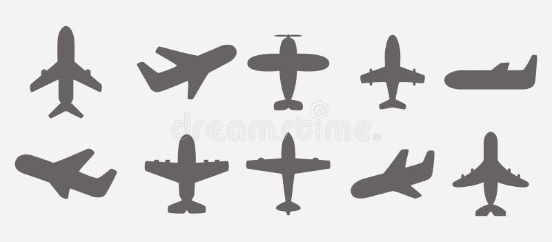 Flygplansymbolsvektor stock illustrationer