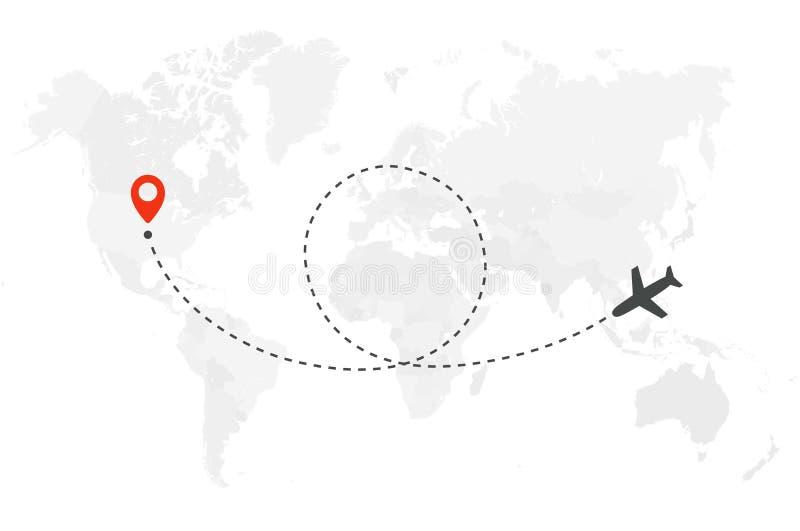 Flygplantur Rutten för flyget för luftnivån med startpunkt och öglaslinjen spårar Plan symbol över världskarta Inom arkiv kan du  royaltyfri illustrationer