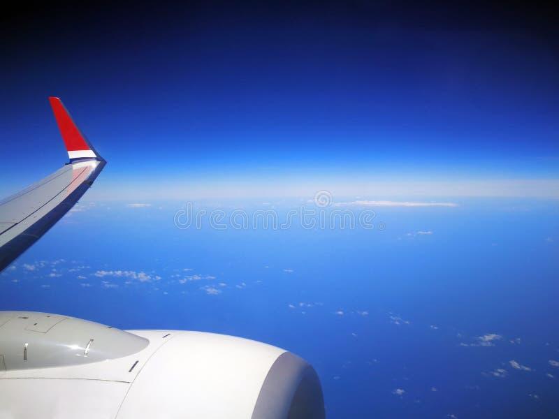 Flygplanturbin och wingtip royaltyfri foto