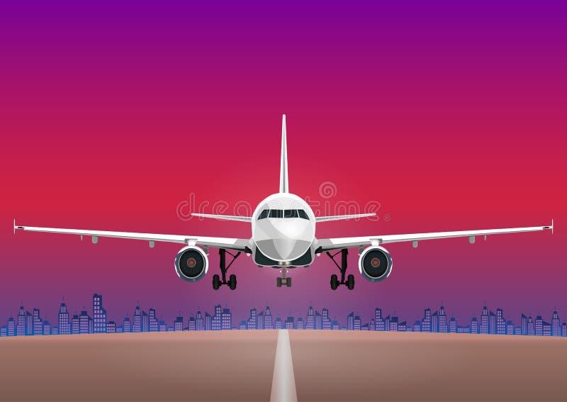 Flygplanvektor, tagande-avnivå mot bakgrunden av solnedgånghimlen, stadshus royaltyfri illustrationer