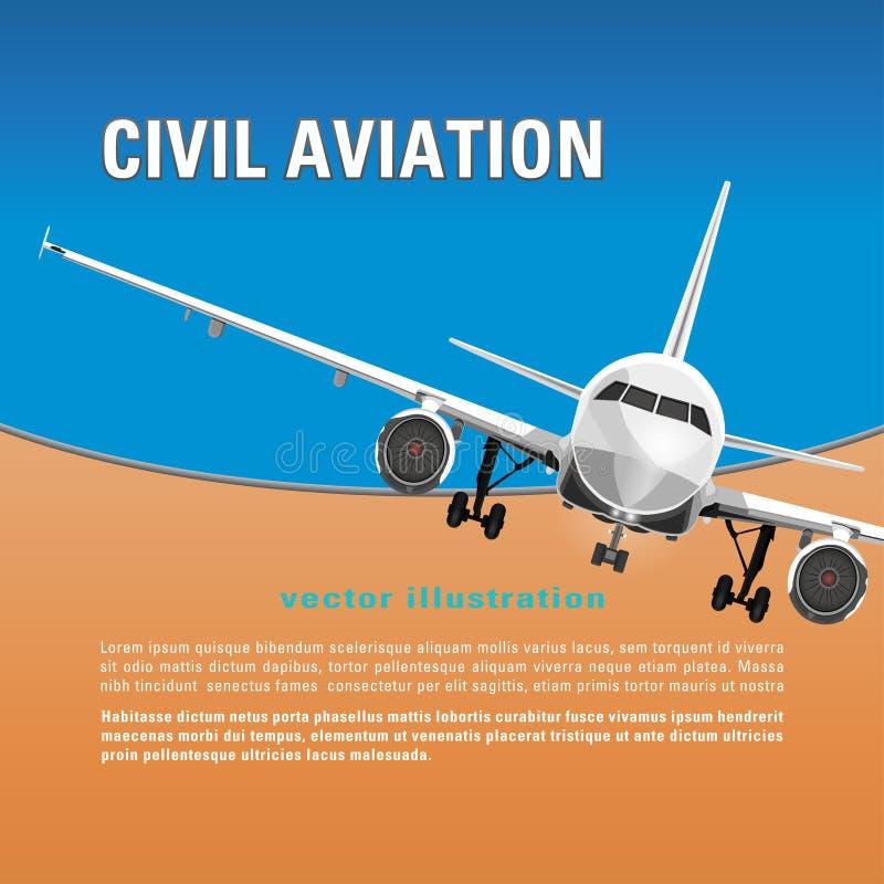 Flygplanvektorbakgrund Baner, affisch, reklamblad, kort med en flygflygplanhalva-framsida mot den blåa himlen och text royaltyfri illustrationer